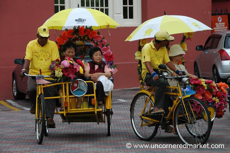 Bicycle Taxis in Melaka, Malaysia