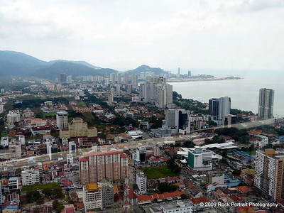 Part of the 360 degree view of Penang from the top of the Komtar Tower.