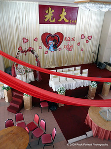 A very tacky wedding set up in the Komtar Tower observation deck