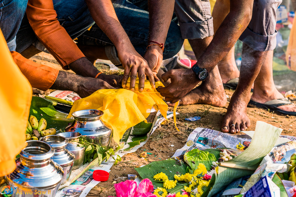 Preparing offerings for Thaipusam 2017