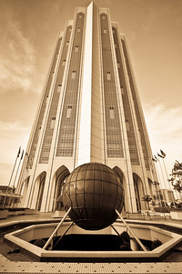Imposing bank building.