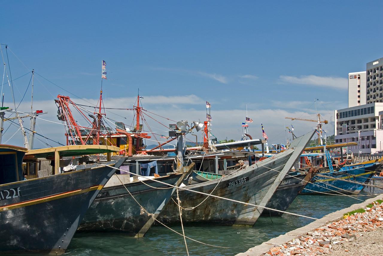 Ships in Harbor at Kota Kinabalu, Sabah, Malaysia