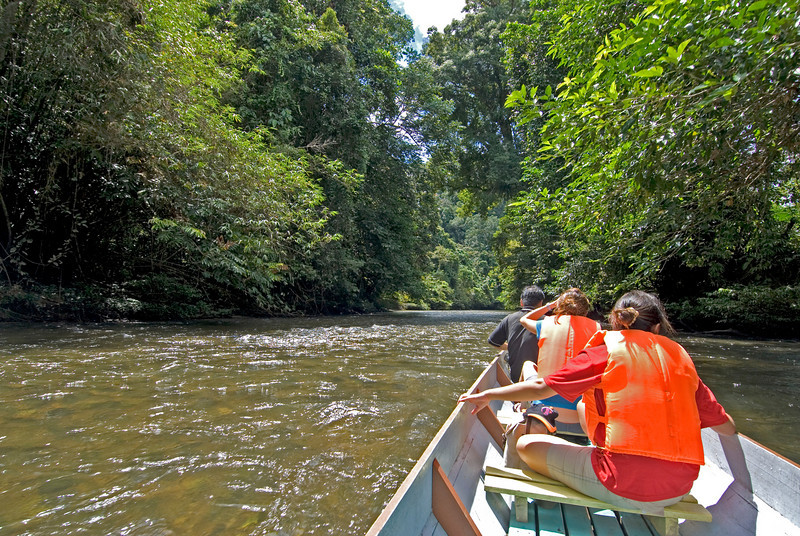 Tourists traveling up the river via boat at Mulu National Park - Sarawak, Malaysia