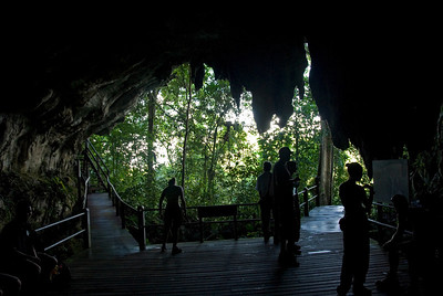 Tourists on the Wind Cave entrance at Mulu National Park - Sarawak, Malaysia