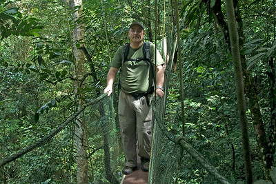 Me crossing the hanging bridge in the middle of canopy at Mulu National Park - Sarawak, Malaysia