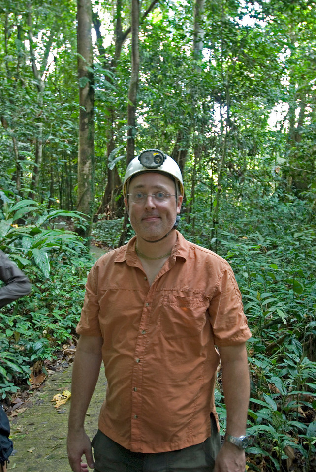 Me wearing gear before entering the runner cave, Mulu National Park - Sarawak, Malaysia