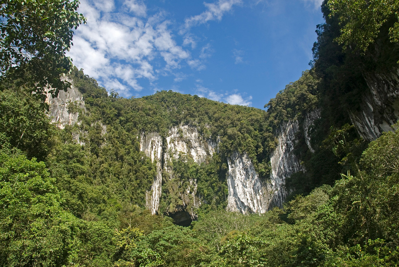 Beautiful shot of the Deer Cave entrance at Mulu National Park - Sarawak, Malaysia