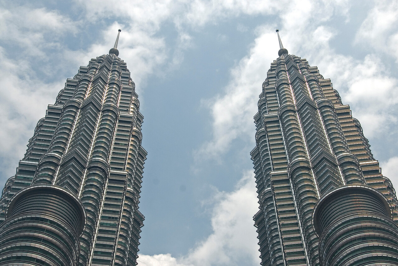Closer shot of Petronas Tower Spires in Kuala Lumpur, Malaysia