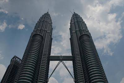 Overlooking shot of the Petronas Towers in Kuala Lumpur, Malaysia