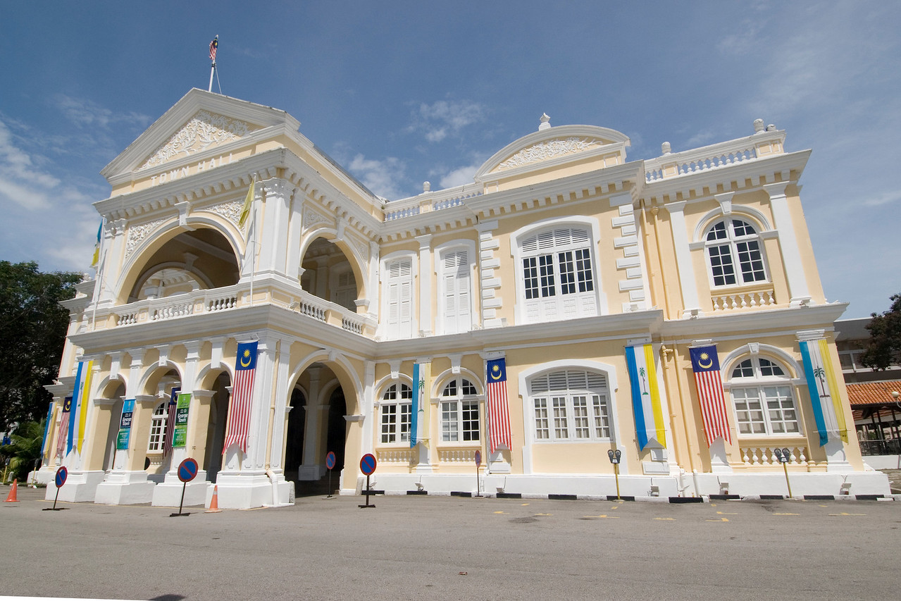 Shot of the Town Hall facade in George Town, Penang, Malaysia