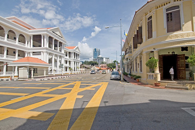 Empty street at day in George Town, Penang, Malaysia