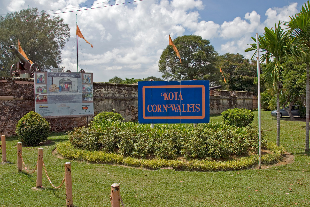 Fort Cornwallis sign outside the park premises - George Town, Penang, Malaysia