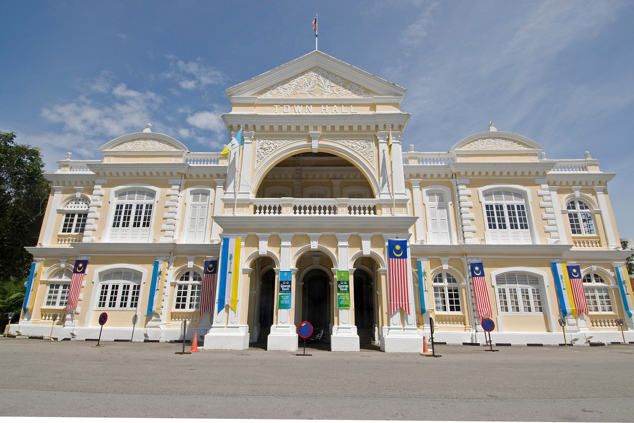 Front view of the Town Hall facade in George Town, Penang, Malaysia