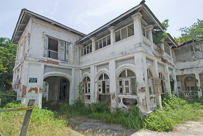 Abandoned and dilapidated youth hostel in George Town, Penang, Malaysia