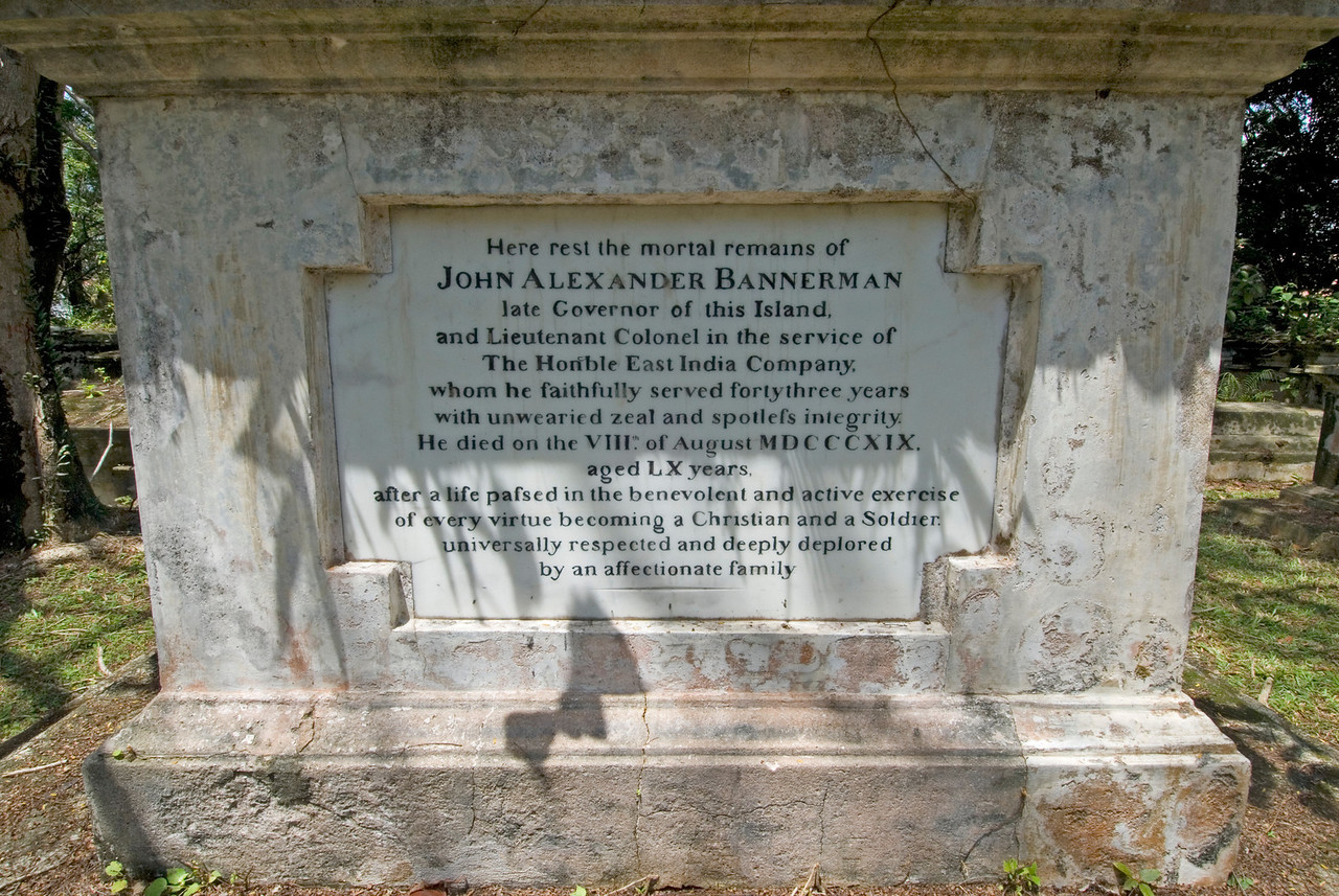 Tombstone of a military personnel inside the Protestant Cemetery grounds - George Town, Penang, Malaysia