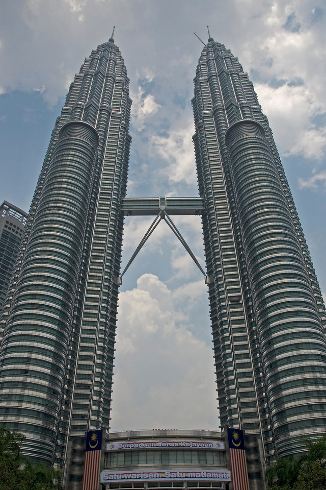 The Petronas Towers against a clear, day sky in Kuala Lumpur, Malaysia