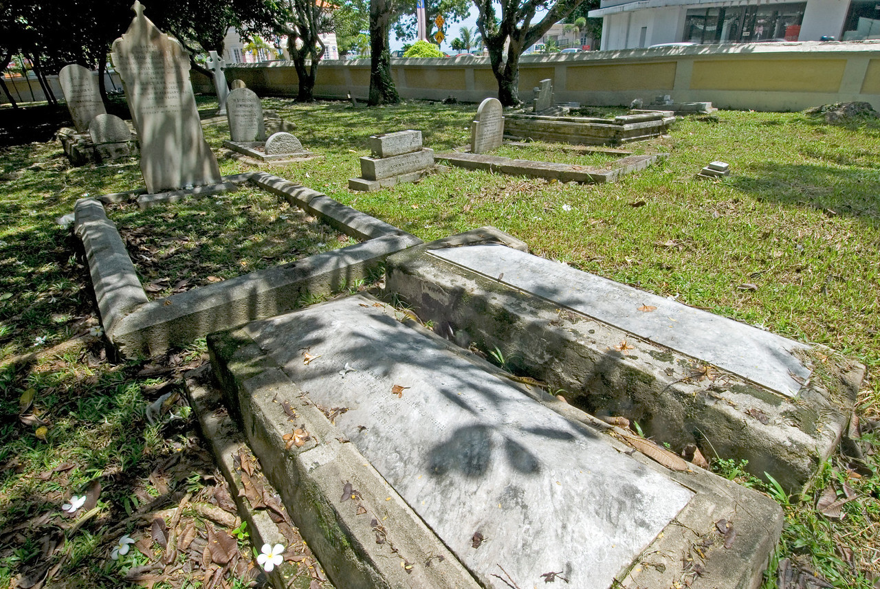 Tombstone in burial grounds in George Town, Penang, Malaysia