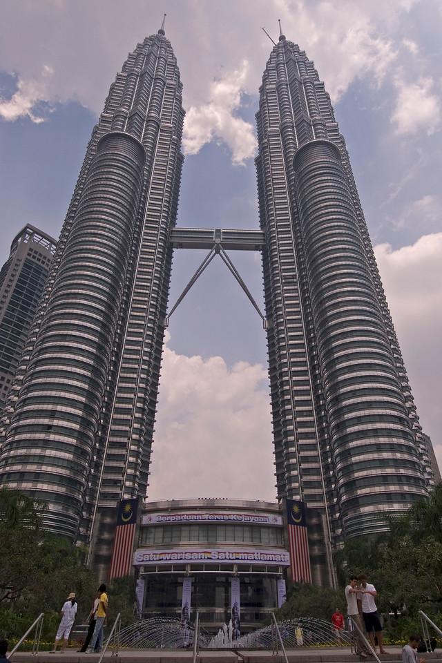 Shot of the Petronas Towers from ground to top - Kuala Lumpur, Malaysia