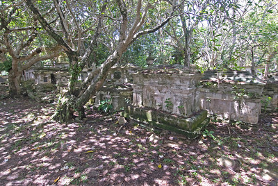 Row of tombstones inside the Protestant Cemetery - George Town, Penang, Malaysia