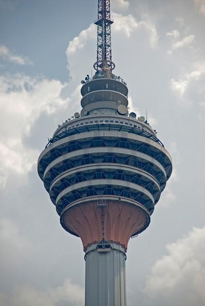 Close-up shot of the Kuala Lumpur Tower in Kuala Lumpur, Malaysia