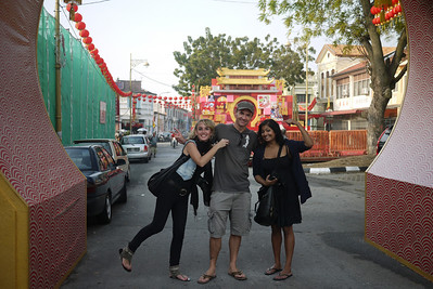 Tasha, James, and Paddy in Penang, Malaysia