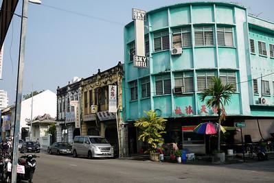 Colorful street corner in Penang, Malaysia.