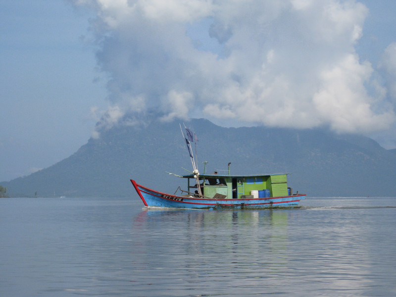 An old boat spotted in waters just outside of Kuching, in Malaysia.
