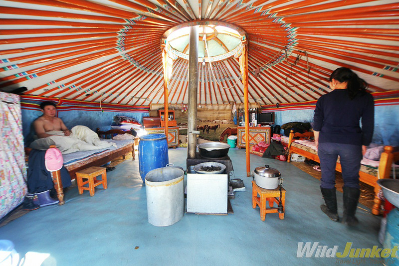 Inside the ger of a nomadic family