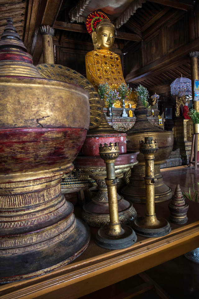 Many ornate objects fill the inside of the temples