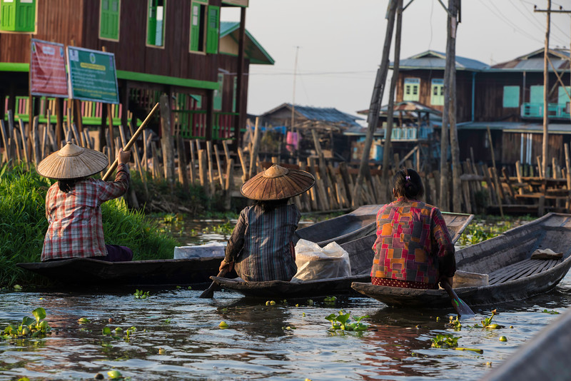 Three ladies off to do the evenings shopping in Inle lake.