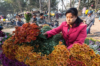 Flowers of every description are for sale in the flower market on the roadside outside Mandaly