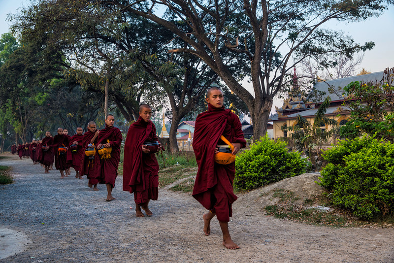 If you are out to see them at sunrise the are monks everywhere in Nyang Schwe