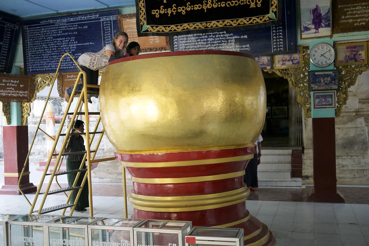 A giant pot for rice at Manuha in Bagan, Burma (Myanmar)