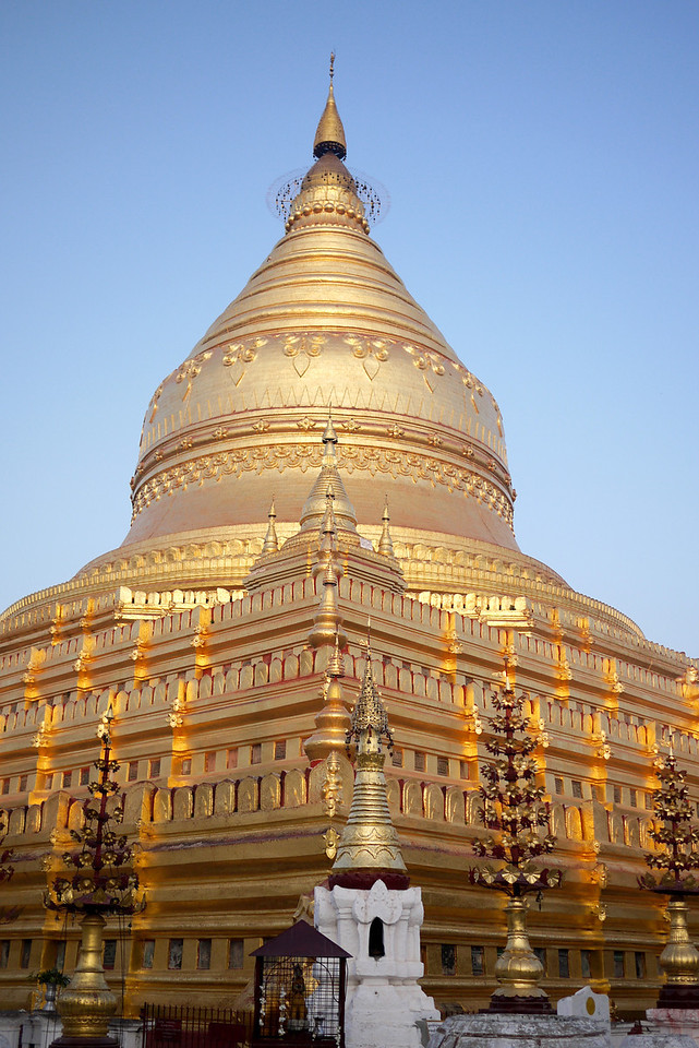 Shwezigon Pagoda stupa in Bagan, Burma (Myanmar)