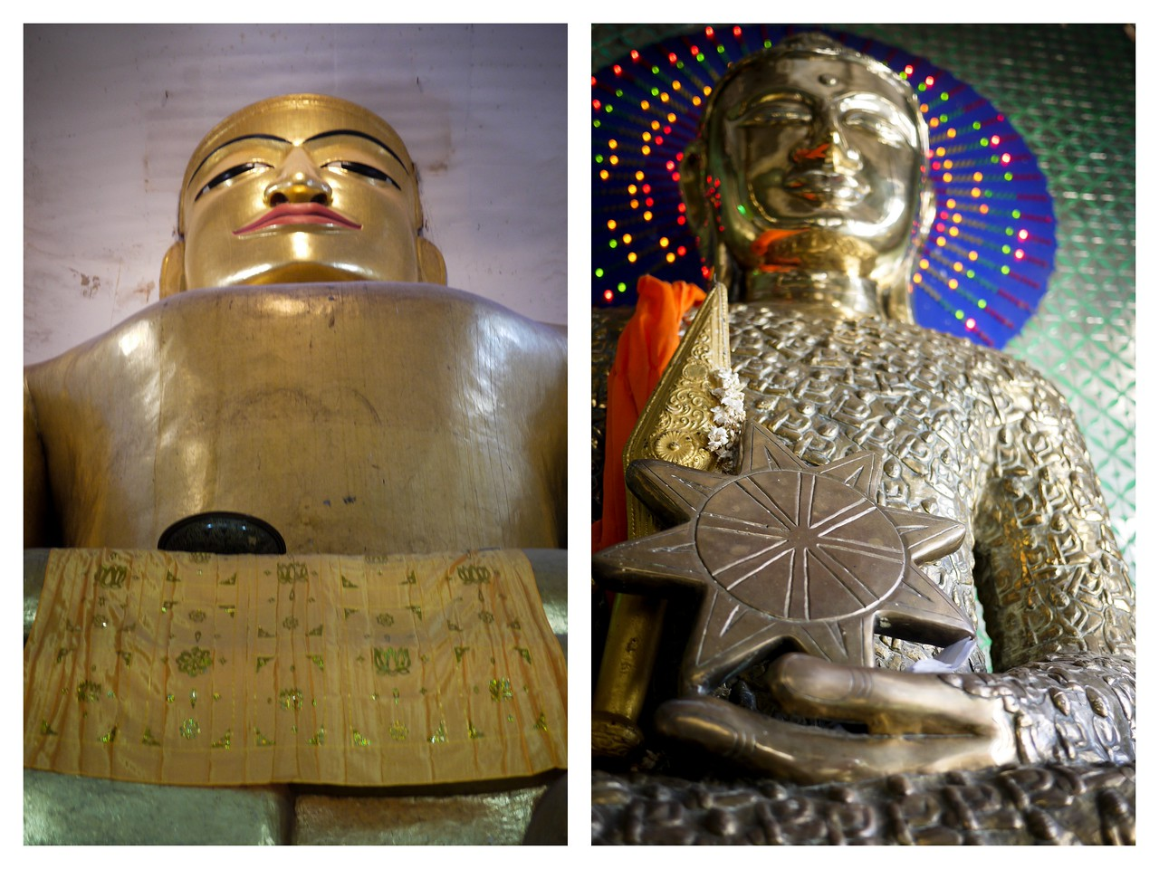 Buddha on the left is from the Manuha temple, and the right one is very unique. This Buddha sits in the Taung Kalat monastery on Mount Popa--the Buddha statue is made up of hundreds of tiny Buddhas.
