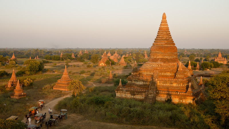 Horse carts and sunset temples in Bagan, Myanmar