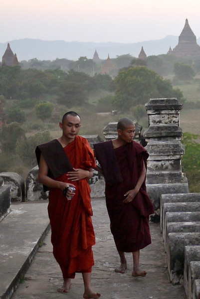 Monks on Shwesandaw Pagoda in Bagan, Burma (Myanmar).