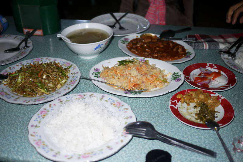 A family style dinner in Bagan, Burma (Myanmar)