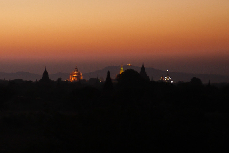 The glowing lights flicker on after sunset in Bagan, Burma (Myanmar)