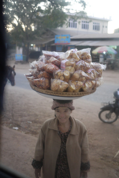 A vendor outside our bus window in Bagan, Burma (Myanmar)