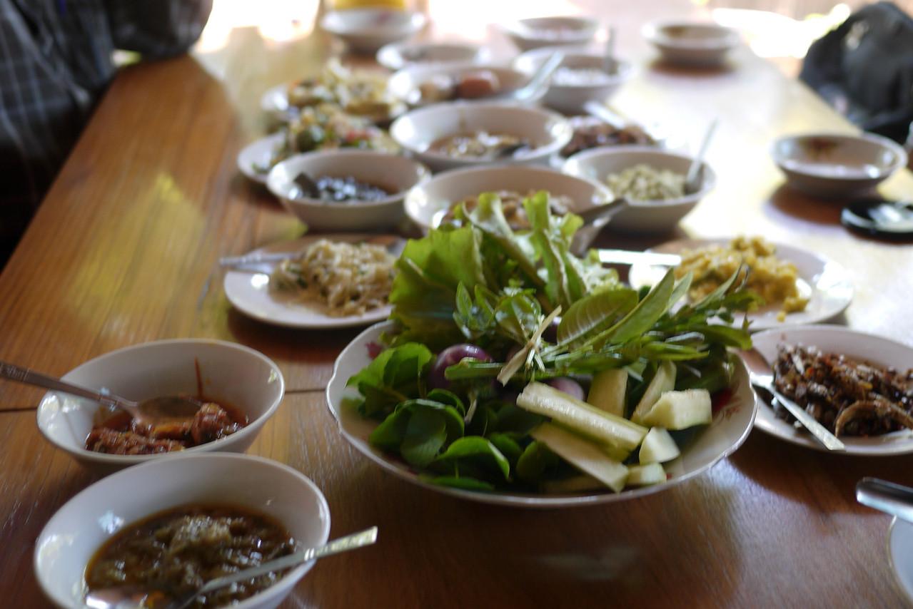 Family style buffet lunch in Bagan, Burma (Myanmar)