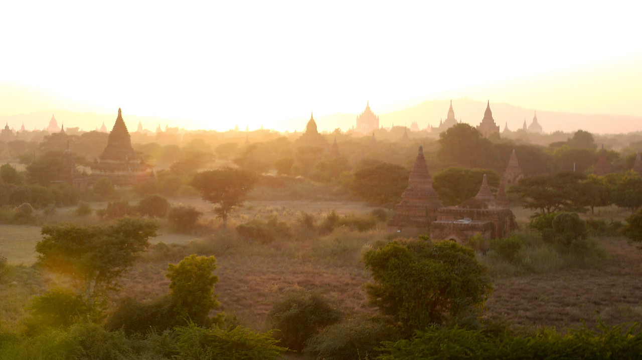 Sunset over Bagan, Myanmar..