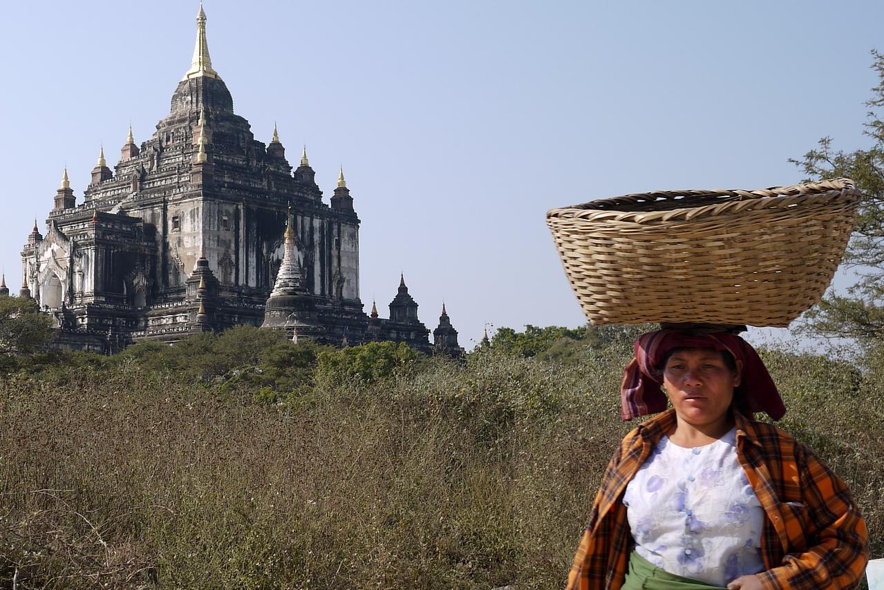 Woman at work near the temples in Bagan, Burma (Myanmar)