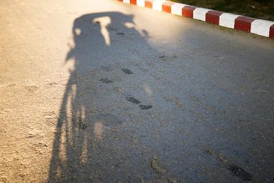 The shadow of our horse cart in Bagan, Burma (Myanmar)