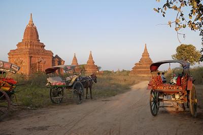 Horse carts line up for sunset in Bagan, Burma (Myanmar)