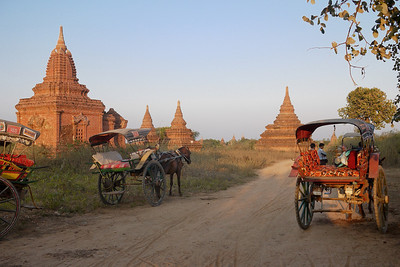 Horse carts line up for sunset in Bagan, Burma (Myanmar)