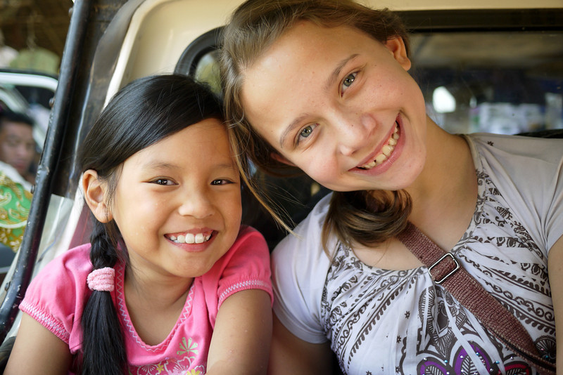 Ana and M in the back of our pickup truck in Bagan, Burma (Myanmar)