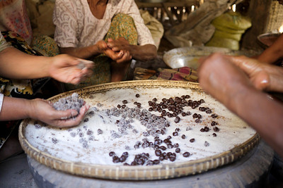 Many hands make simple work of the candy making process in Bagan, Burma (Myanmar)