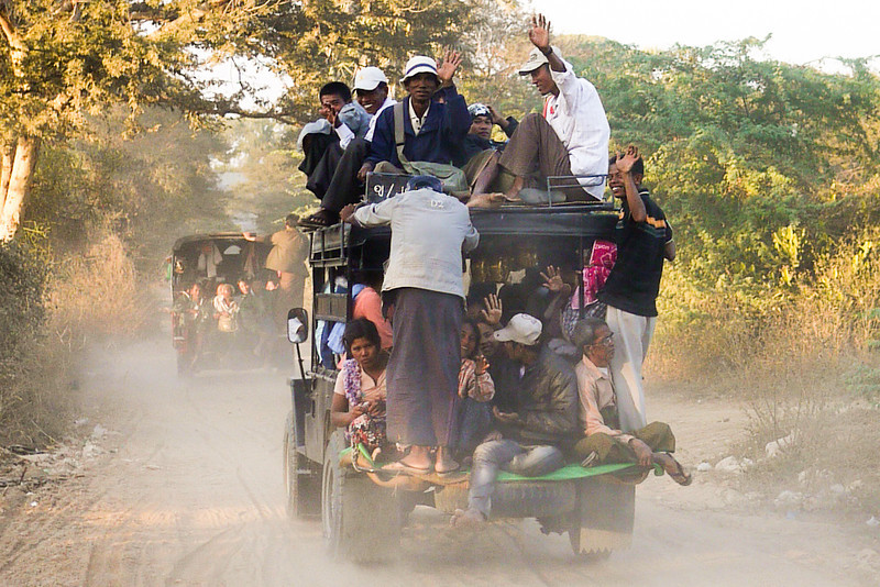 car full of people in Bagan, Burma