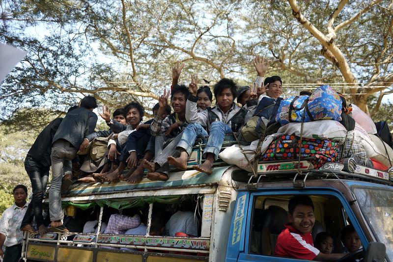 A full truckload of people in Bagan, Burma (Myanmar)